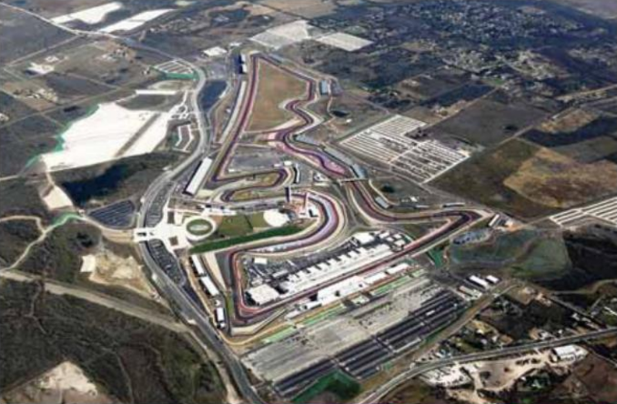 An aerial view of the COTA track shows its 3.4 mile twists and turns.