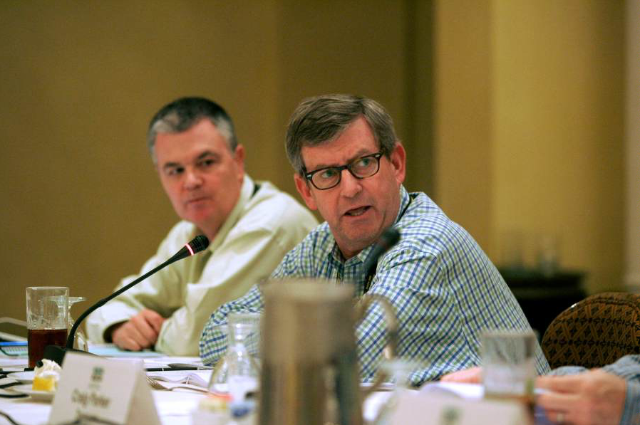 The incoming chairman gets down to business during a NAPA committee meeting in 2014.