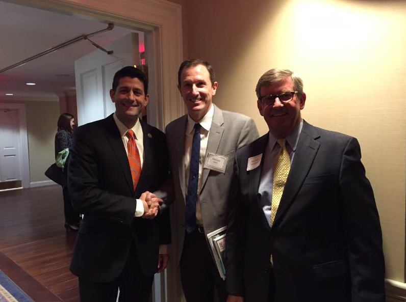 One of the responsibilities for an asphalt company president or asphalt association chairman is to talk to legislators about the state of the industry. From left, Speaker Paul Ryan, NAPA 2015 Chair Michael Cote and Kevin Kelly discuss highway funding.