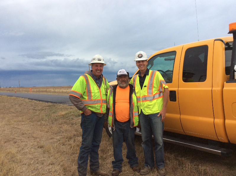 Tom Peterson (at right) with Jim MacDonald (at left) and Ismael Cornejo (center) both of APC Southern Construction Co., Golden, Colorado, meet out in the field to check out a project in progress. Photos courtesy Tom Peterson.