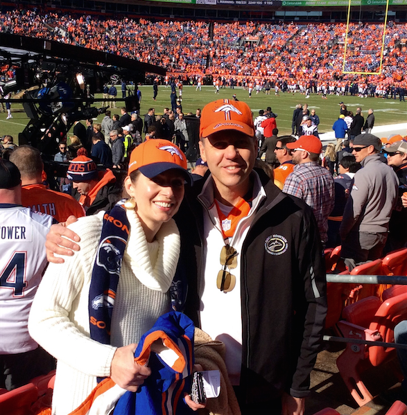 Tom and Linda Peterson cheer the Broncos onto the Superbowl.