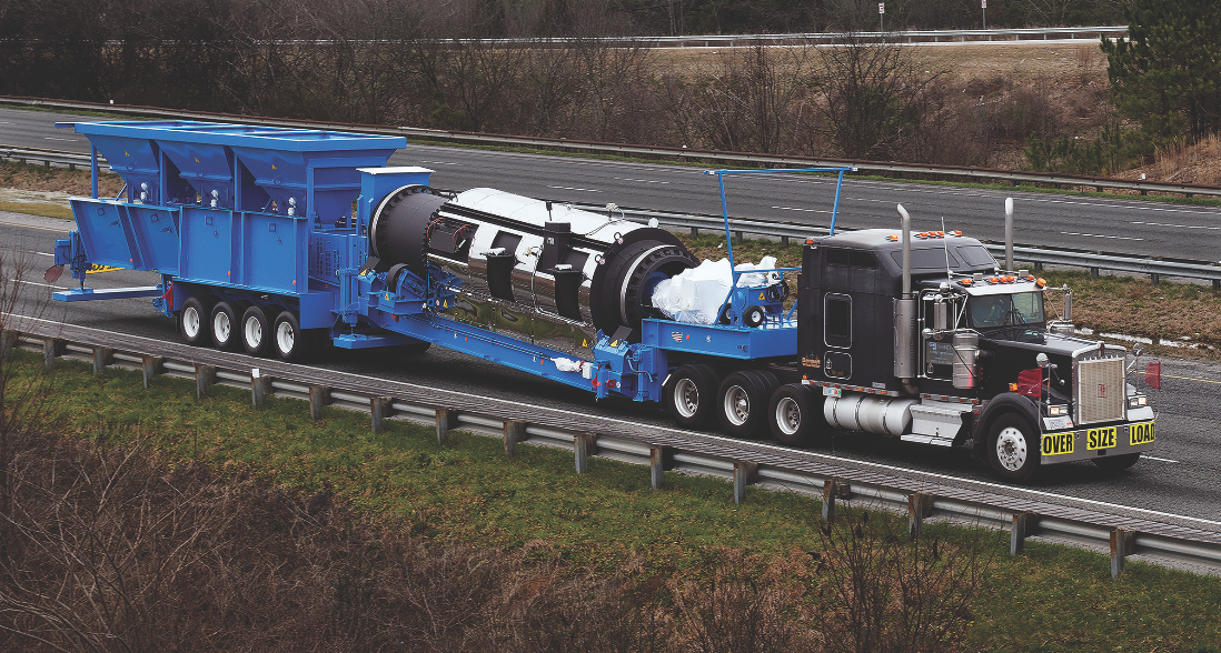 The new Double Barrel® Express plant from Astec ships in two loads, and is designed to produce mix with up to 50 percent RAP content at 140 tons per hour.