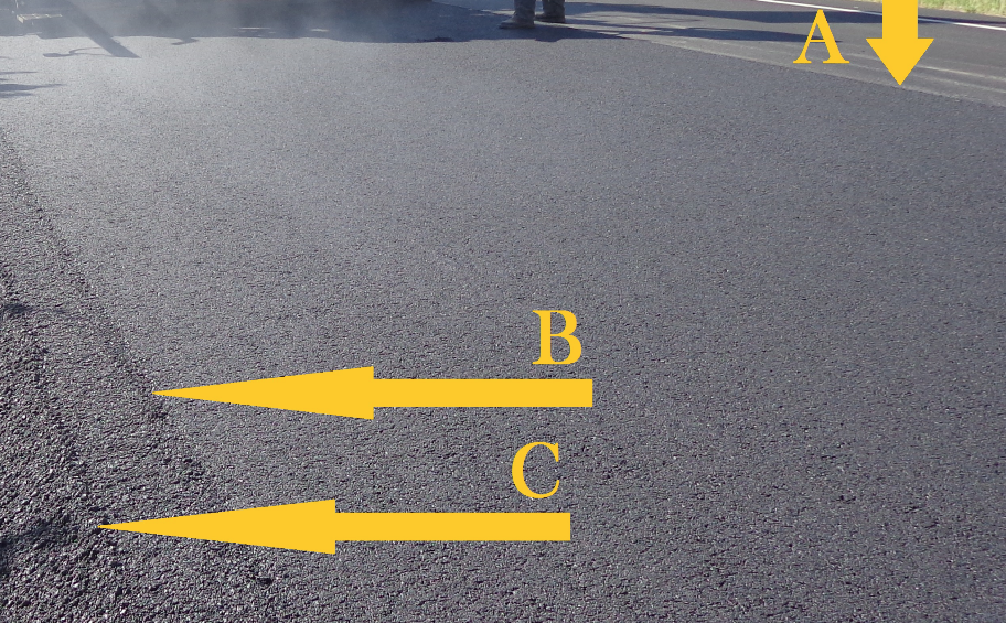"""In this picture, the arrow marked A shows that the crew is matching the longitudinal joint beautifully. The mat is picture-perfect all the way across the right extension and main pull until we get to the left extension, which did not have a properly heated screed plate or endgate. Arrow B shows where the """"cooler"""" extension begins. Arrow C shows where the """"cooler"""" endgate is not running smoothly down the pass. You can see the direct effect to the mat of an electrical problem in the screed. When the crew stops to address the electrical problem, the roller operator will have some extra work to do to get adequate compaction."""