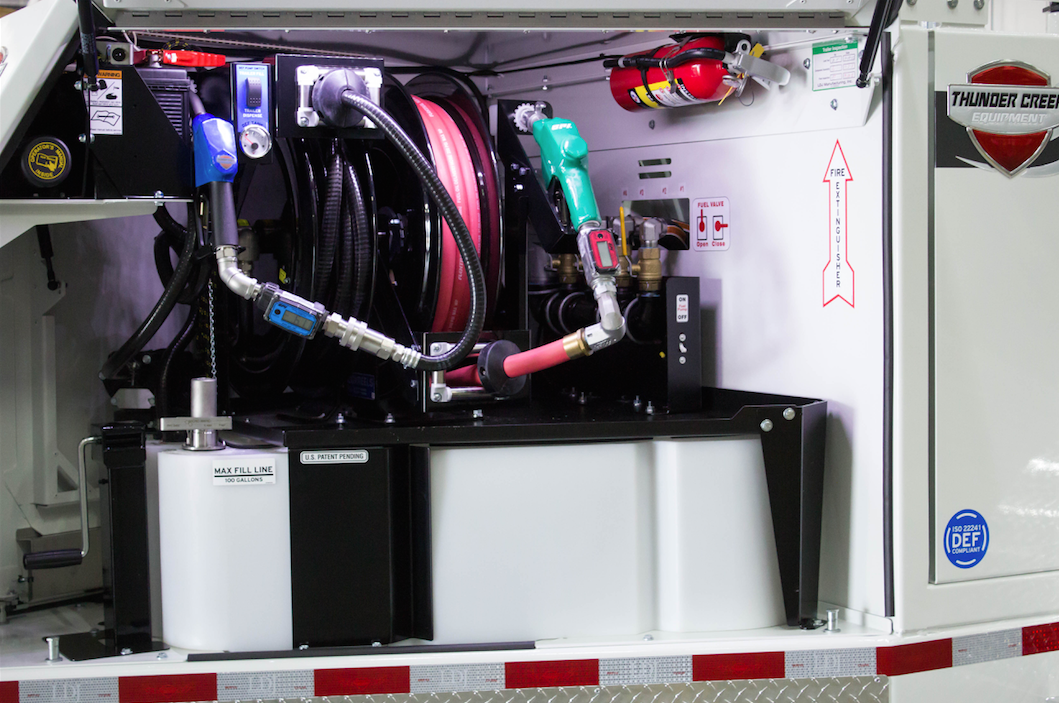 A two-in-one enclosed DEF system on a fuel trailer, like you see here, is one way to avoid contamination of your DEF.