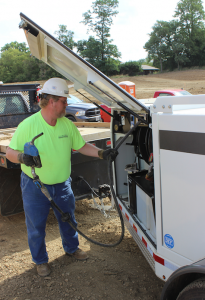 When contractors need to refuel more than a couple Tier IV Final machines, single-use 2.5-gallon jugs simply won't cut it. One hundred gallon closed DEF systems outfitted on a diesel trailer, like you could see here, offer a bulk storage and refueling solution.