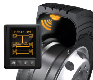 The ContiPressureCheck sensors inside the tires monitor the pressure and temperature of all tires on the vehicle continuously, during travel. The data are recorded constantly and shown to the driver on a display.