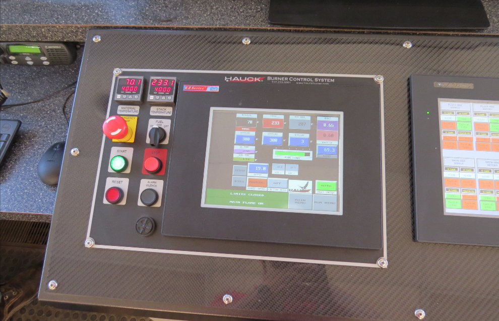 Hauck BCS 7000 control system operator interface shows the critical burner data/functions. Photo courtesy Jeff Meeker of Meeker Equipment.