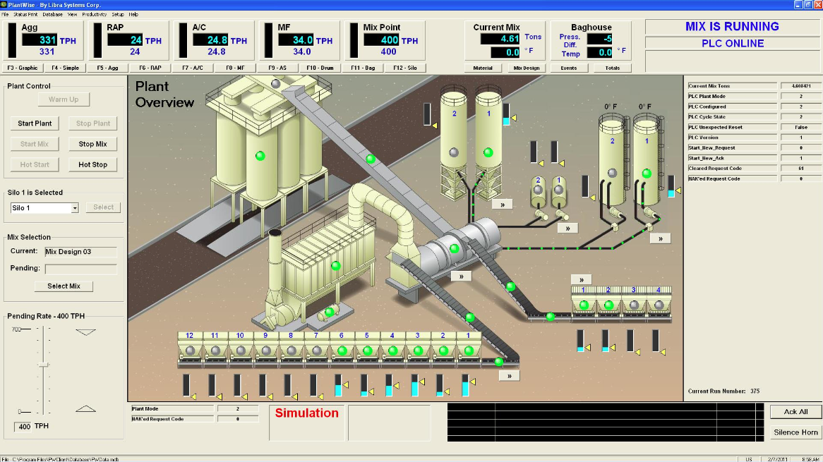 The Libra PlantWise Drum Mix Control System features a fully graphic operator interface to provide complete plant status at a glance. The system's highly configurable design allows the producer to design custom software switches, create reports, and adapt to the current and future plant control requirements. Photo courtesy Ken Cardy of Libra Systems.