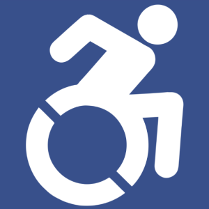 The Accessibility Project's symbol of access utilizes angles to imply motion.