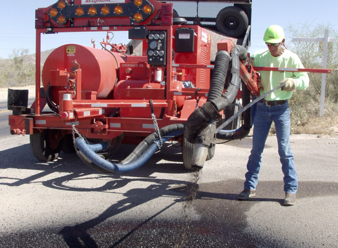 Spray injection patching cleans, tacks, fills and compacts in one continuous operation. The process requires a one- or two-person crew, can be used in cool or damp conditions, and doesn't require a roller. Photo courtesy of Crafco Inc.
