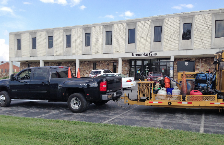 Before: For a sealing project in Roanoke, Virginia, the crew arrives with the equipment for the job.