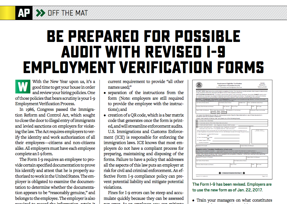 Employment Verification Forms | Asphaltpro Magazine Be Prepared For Possible Audit With Revised I