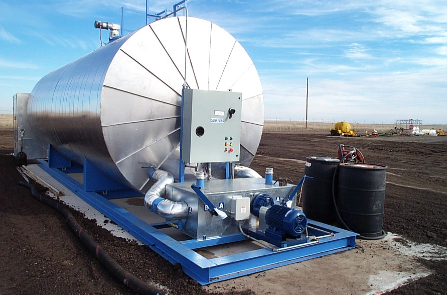 PHCo Lo-Density Unitized Storage Tank Heater, installed into a horizontal tank at an asphalt plant