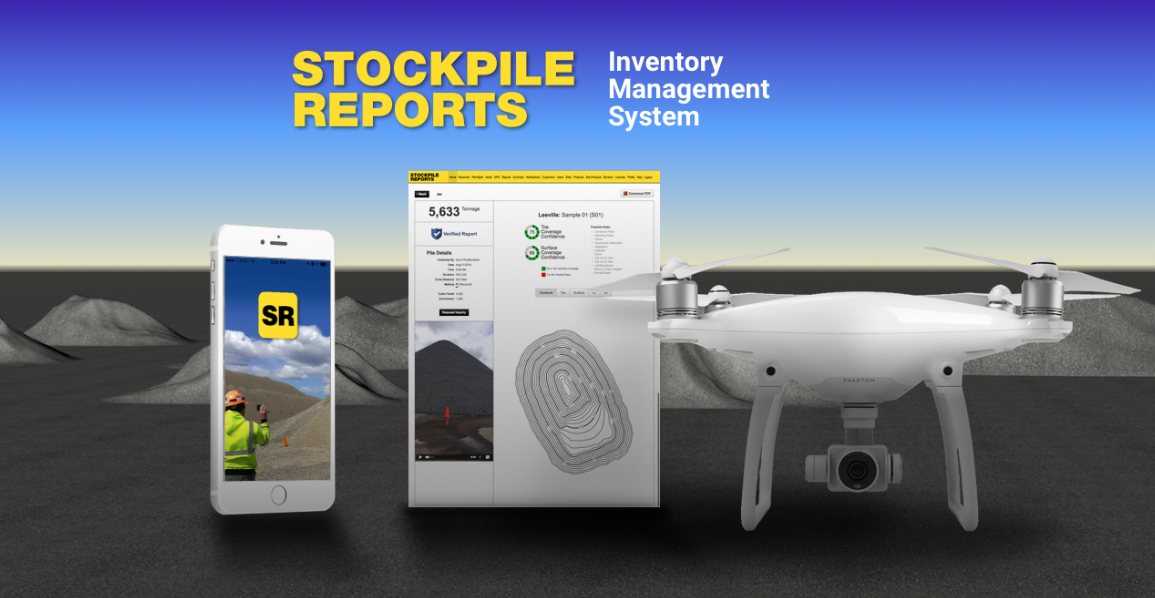This is Stockpile Reports' inventory management screen, the iPhone App for ground-based measurements, and a DJI Phantom 4 Pro for aerial-based measurements.