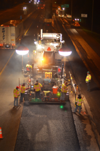 The Lehman-Roberts team put extra effort into lighting up the crew for night paving on a recent Interstate 240 project.