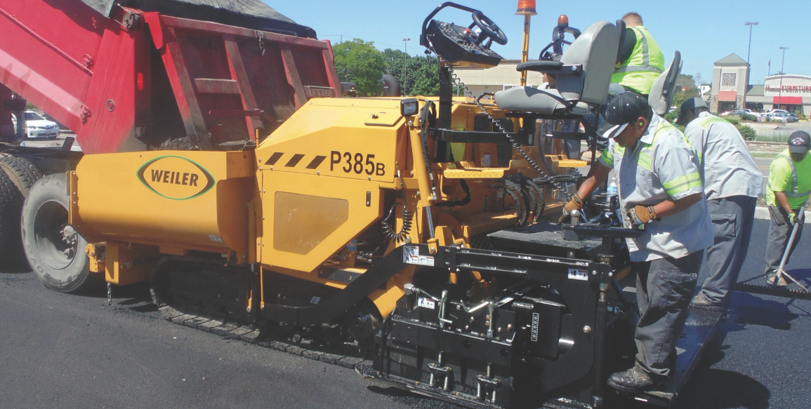 The latest commercial paver from Weiler features a 9-ton hopper with replaceable floor plates.