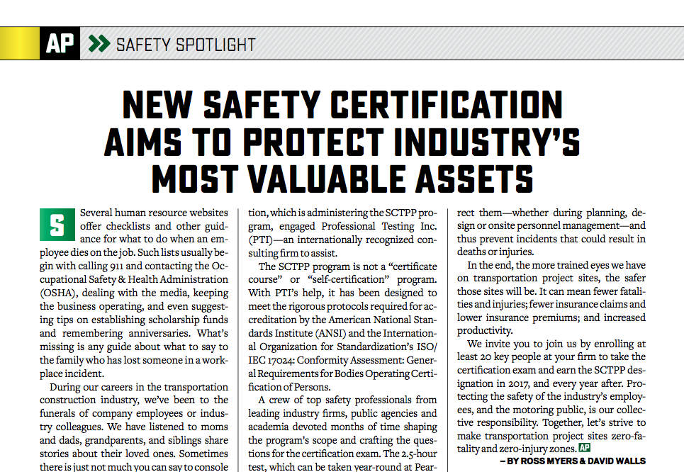 AsphaltPro Magazine | Safety Certification for Transportation ...