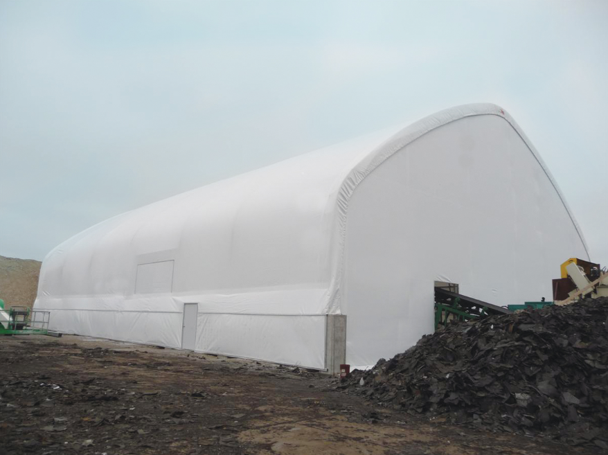 Southwind RAS LLC now uses a Hercules Truss Arch Building at its Bartlett, Illinois, location to keep material, processing equipment and employees safe from the elements. All photos courtesy ClearSpan Fabric Structures.