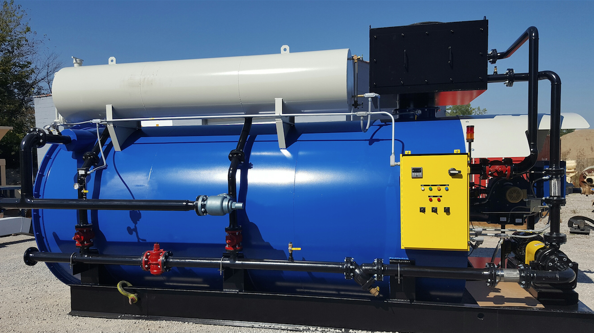 The Burke new model HCH-5.0 helical coiled hot oil heater from Reliable Asphalt Products is skid-mounted.