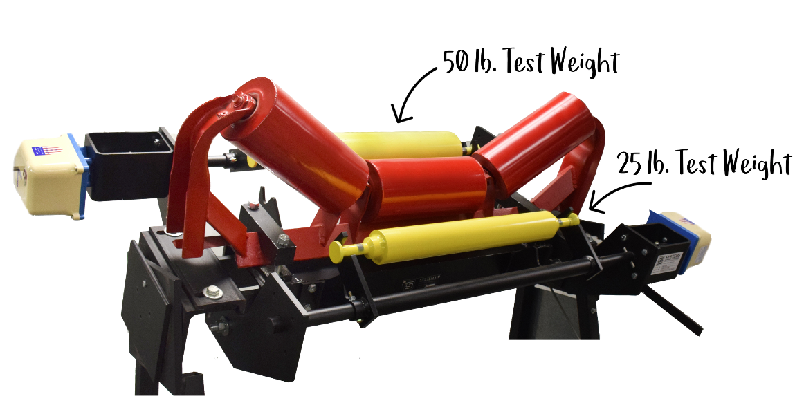 The dual test weights from Systems Equipment are used at the conveyor belt to test the weight of material, using the full range of the load cell.