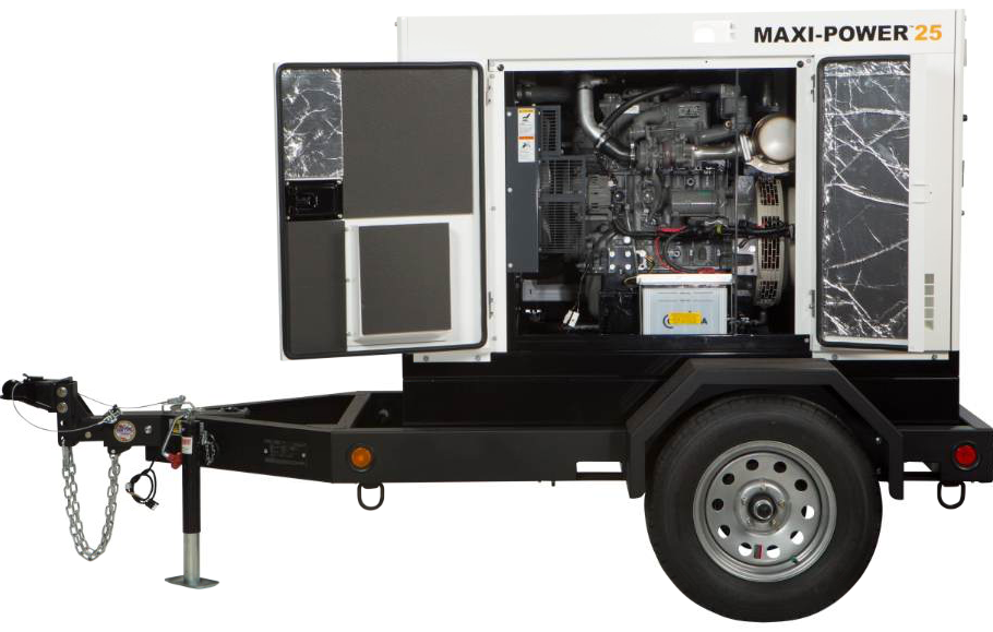 The smallest unit in the new Maxi-Power line from Allmand Bros., the MP25, pictured here, uses a 33.3-horsepower engine and provides 20 kilowatts of prime power.
