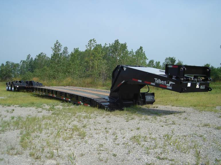 Talbert Manufacturing's new 55-ton extendible trailer, the 55SA-TELE, can be retracted from 53 feet to 32 feet, 6 inches.