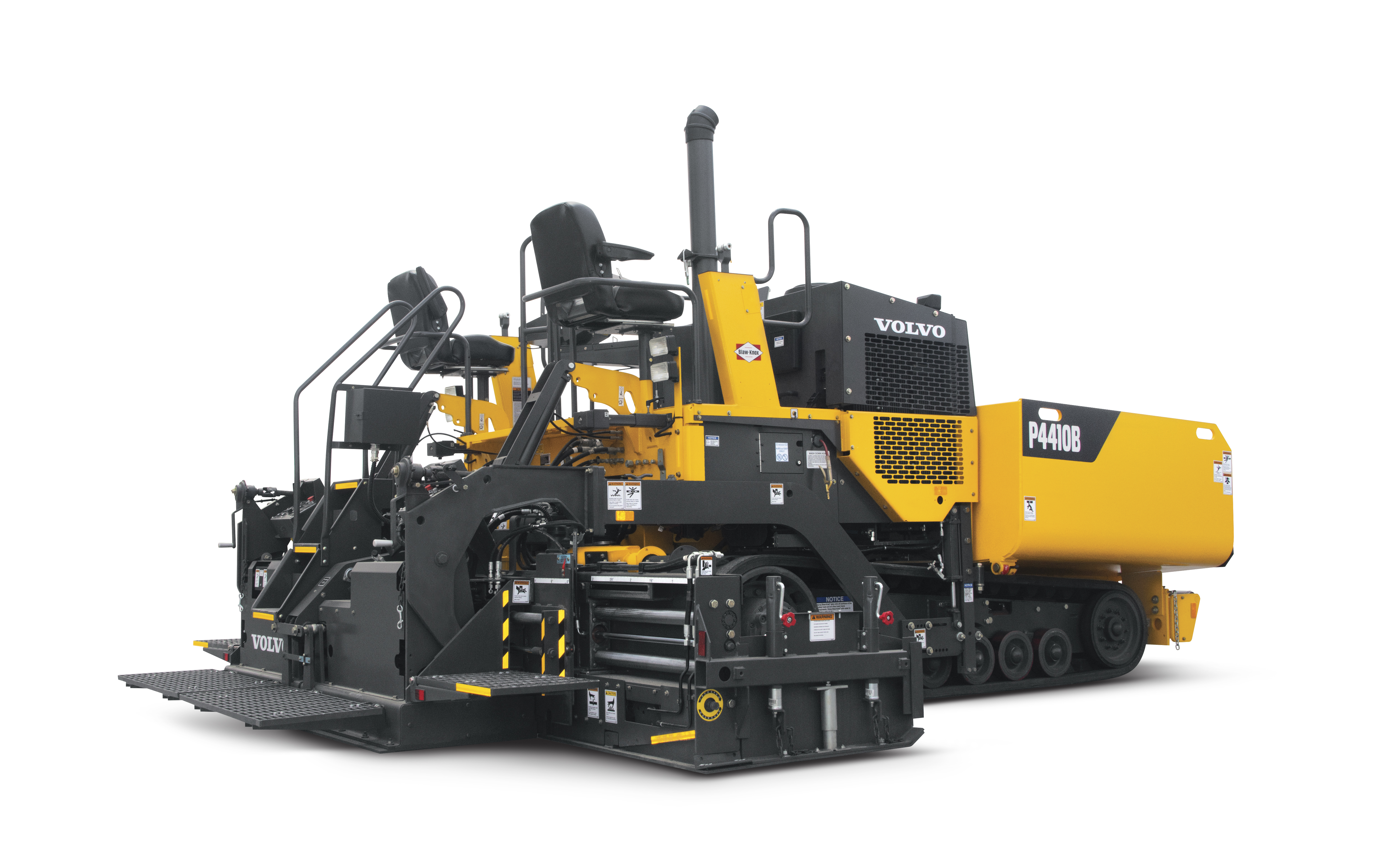 The Ultimat 16 screed of Volvo's new P4410B can hydraulically extend to double the machine's base width to a full 16 feet.