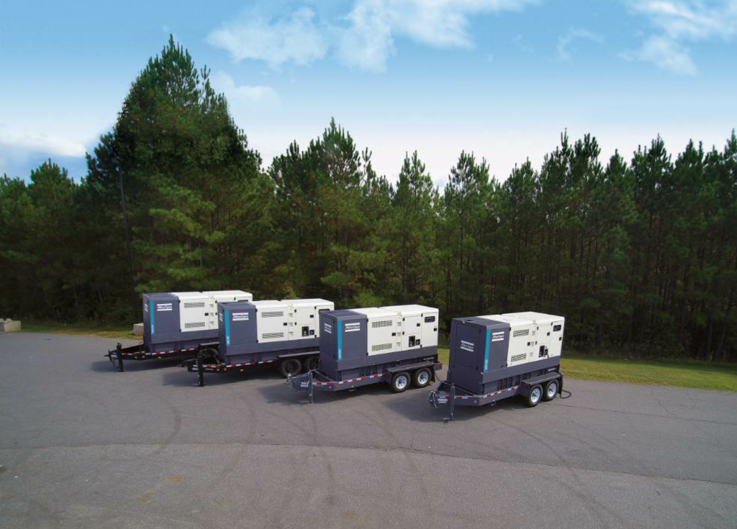 A sampling of the new QAS generators from Atlas Copco shows the trailer configuration.