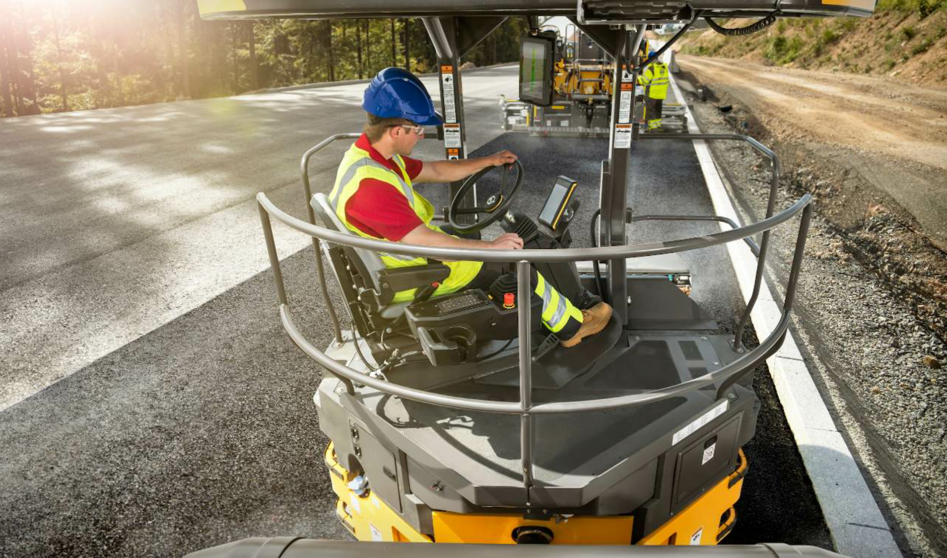 The QC tech and roller operators will determine the rolling pattern before the job starts. The intelligent compaction (IC) system helps the operator track his passes. Depending on the system, it may offer a reading or level of mat stiffness under the drums or other way to assess compaction. Photo courtesy Volvo Construction Equipment, Shippensburg, Pennsylvania.
