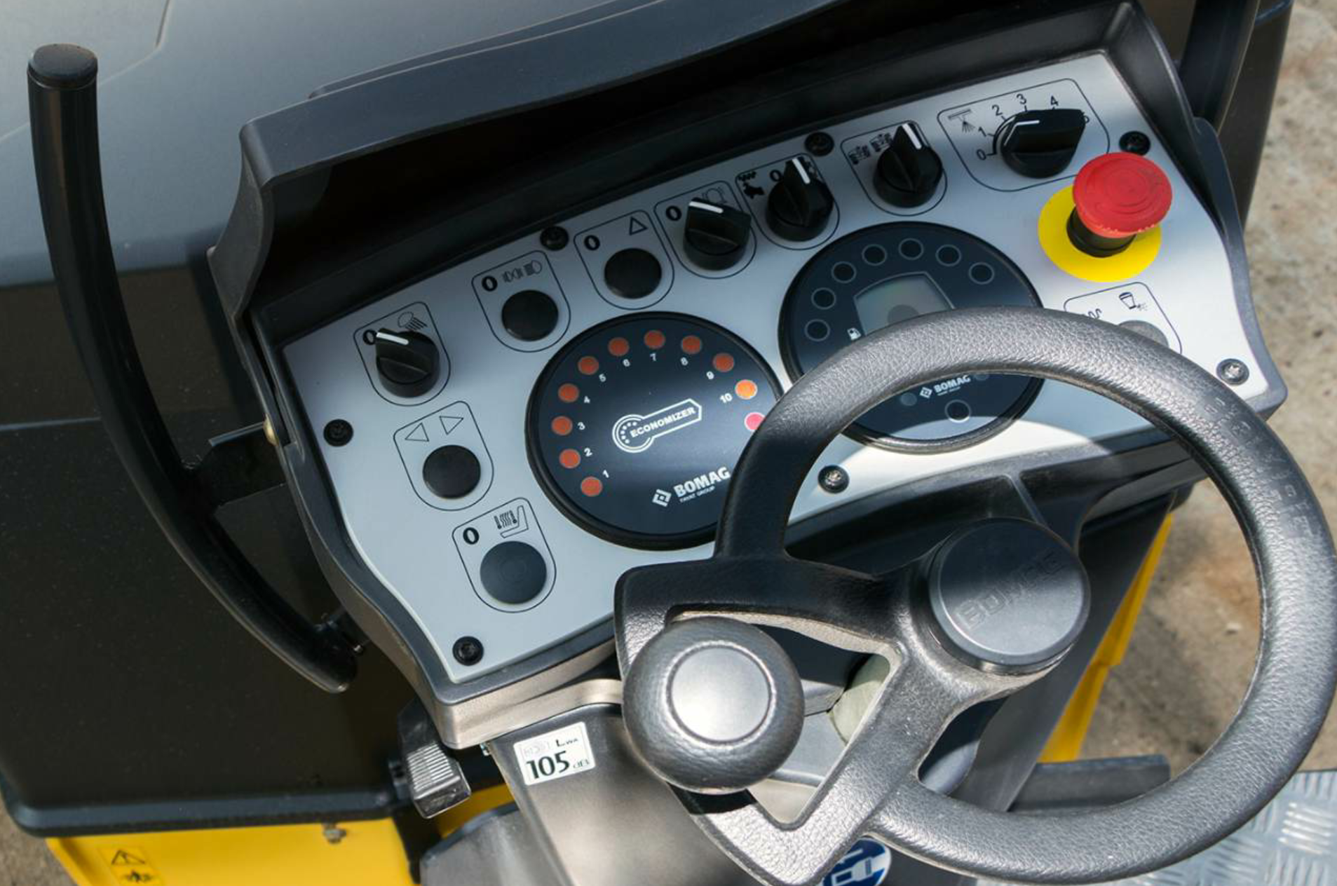 BOMAG Americas' Economizer, available for any compaction equipment, features a dial display at the operator's station and uses a monitoring device to track mat stiffness. Photo courtesy Bomag Americas, Ridgeway, South Carolina.