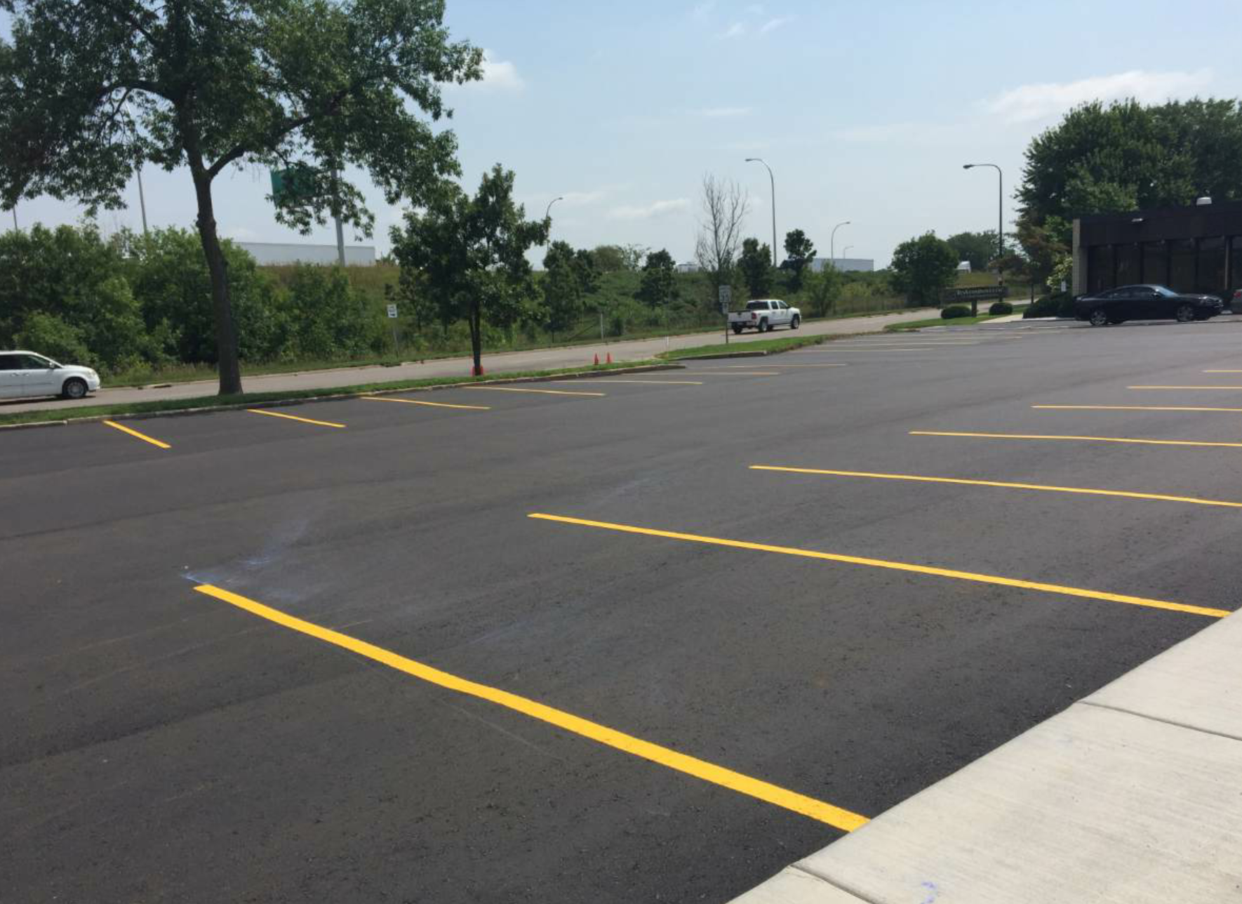 Gasoline, motor oil and other chemicals can wear down the surface of asphalt—particularly in high-traffic parking lots. Tell customers to monitor for any leaks from vehicles. If a spill or leak does occur, tell them to clean it as soon as possible.