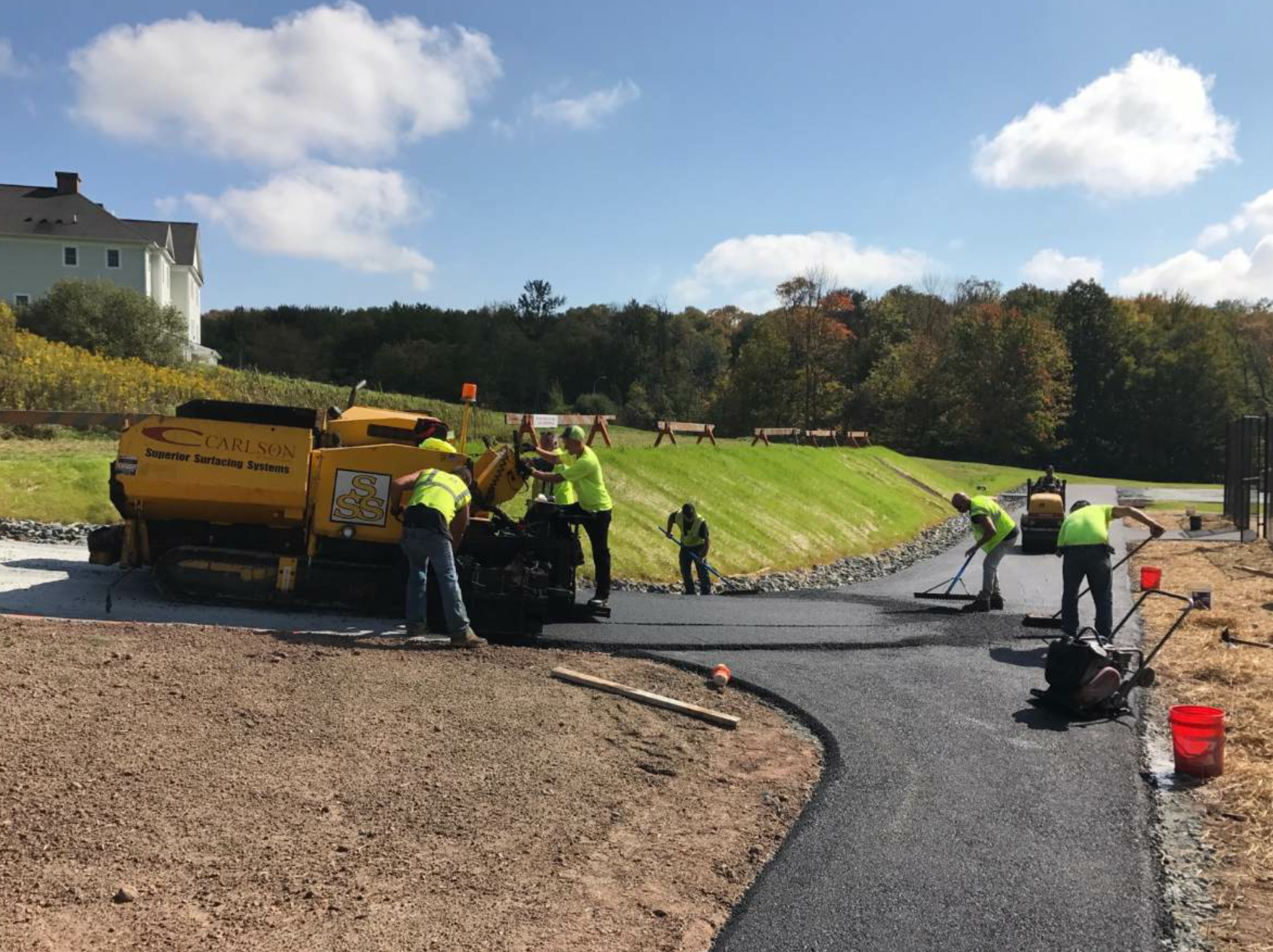 Often, paving courts requires constructing an access road. The project at Sullivan County Community College was no exception.