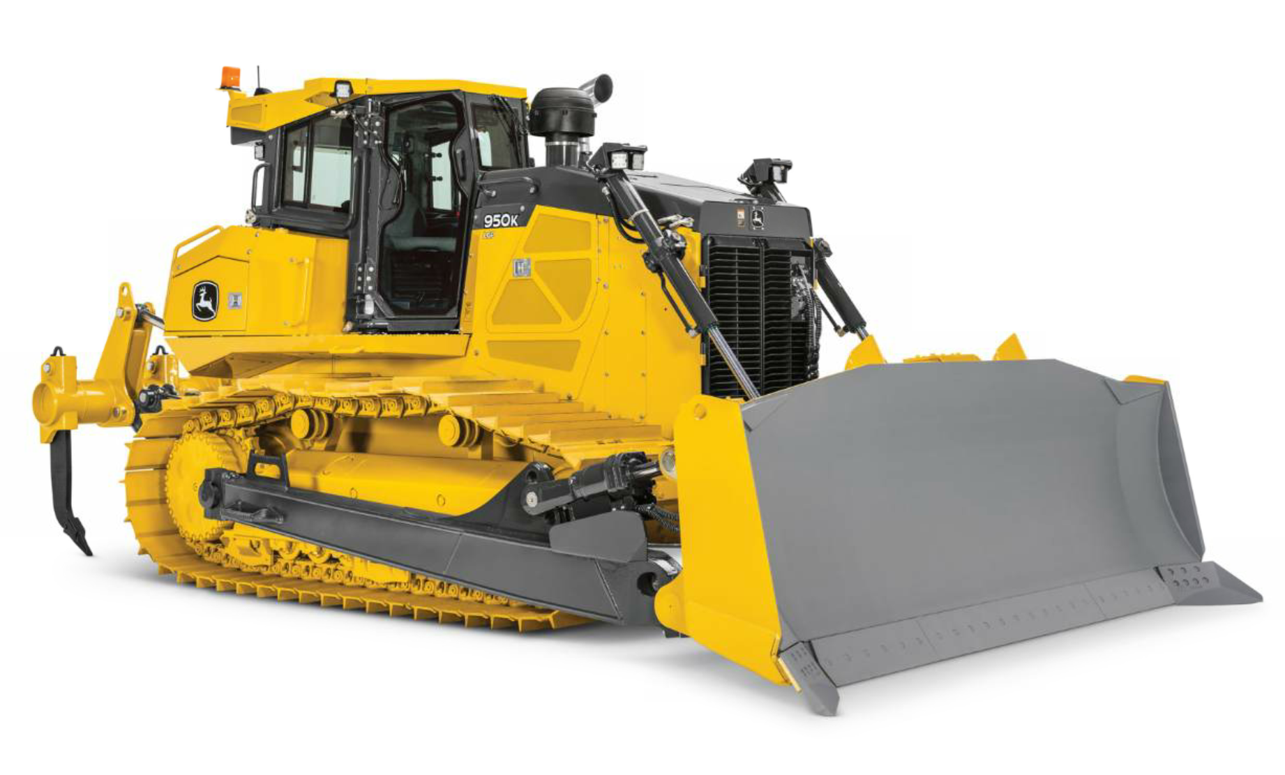 The 950K PAT crawler dozer from John Deere weighs in at nearly 80,000 pounds.