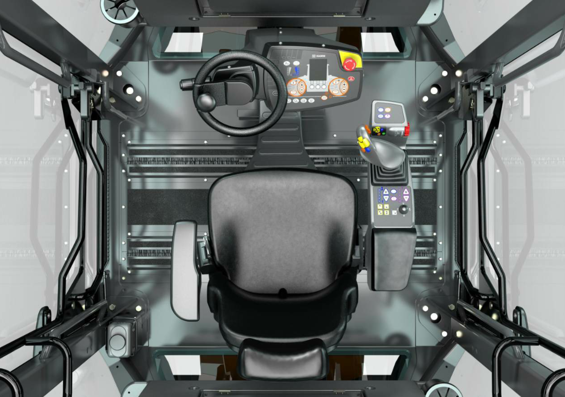 The Hamm Compaction Quality (HCQ) system features a color touchscreen PC with USB interface at the operator's station. The setup in the cab is designed for operator comfort with steering accomplished via steering wheel and controls via a joystick and armrest. Photo courtesy Hamm, Antioch, Tennessee.