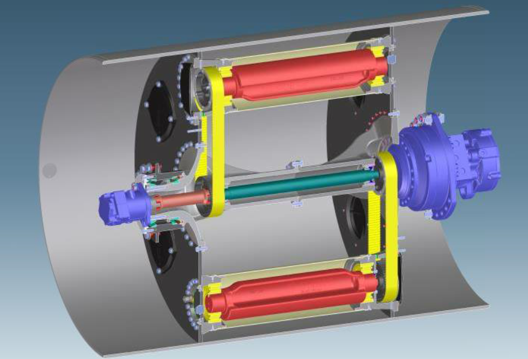 Bomag's rendering of the oscillation technology shows the two mechanisms (in red) that cause the drum's compaction energy to be directed tangentially into the mat. Illustration courtesy Bomag Americas, Ridgeway, South Carolina.