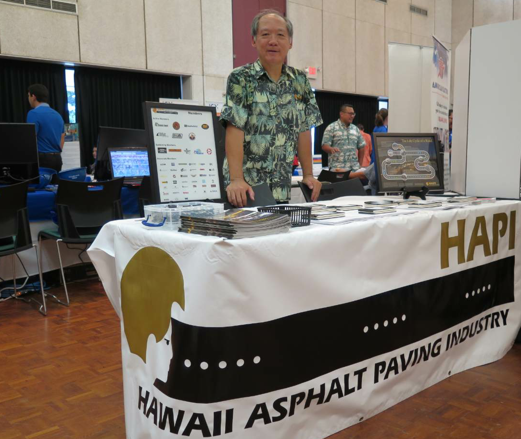 Jon Young is the executive director of the Hawaii Asphalt Pavement Industry (HAPI), and he encourages members of the organization to publicize jobs in the industry as a whole. Here he mans the HAPI table at a University of Hawaii College of Engineering Career Fair on campus Oct. 18, 2017.