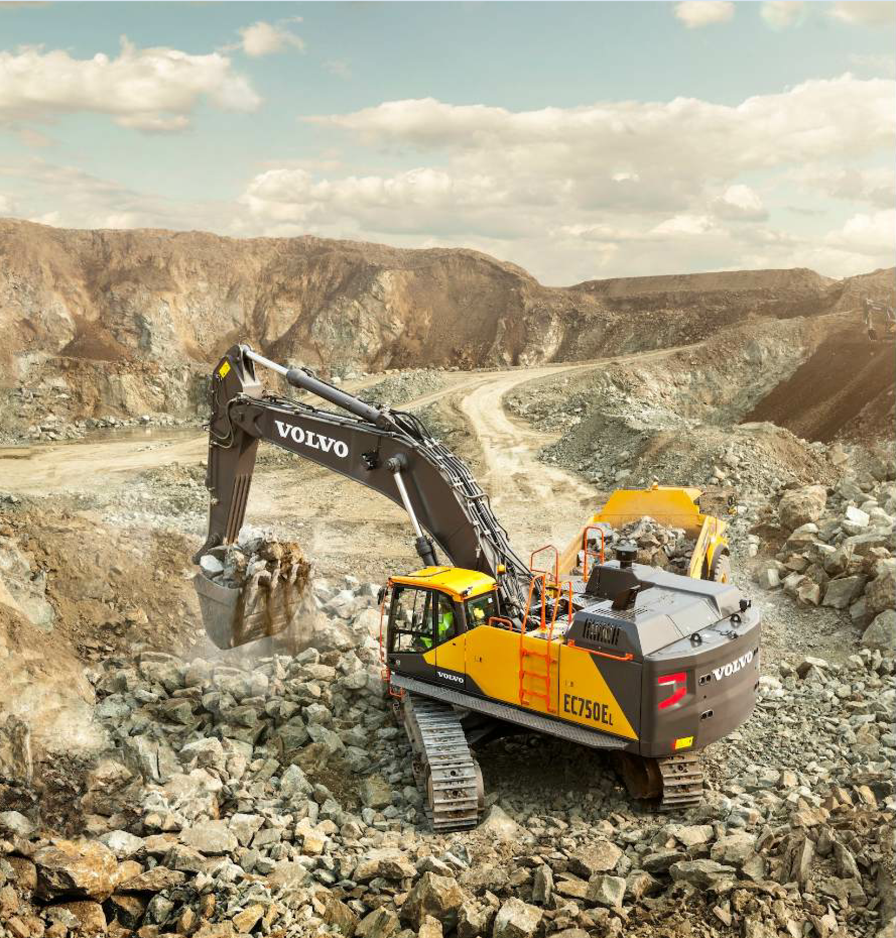 The 75-ton EC750E from Volvo boasts improvements to power, productivity and digging force from its smaller predecessor.