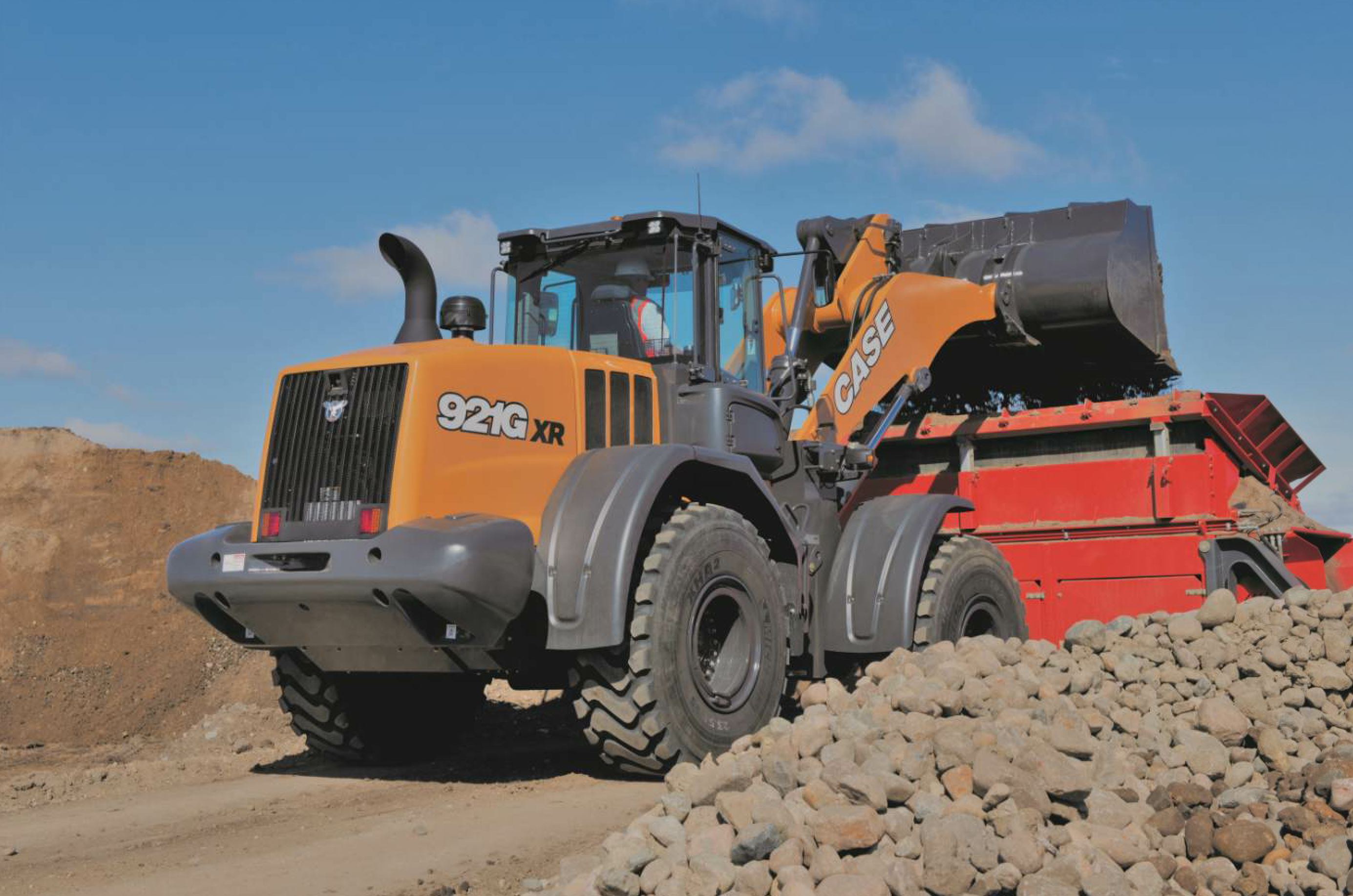 If your facility still uses wheel loaders to get material from stockpiles to feed bins or from piles to crushers or screens, make sure operators are trained for the most fuel efficient use of equipment. Photo courtesy Case Construction Equipment.