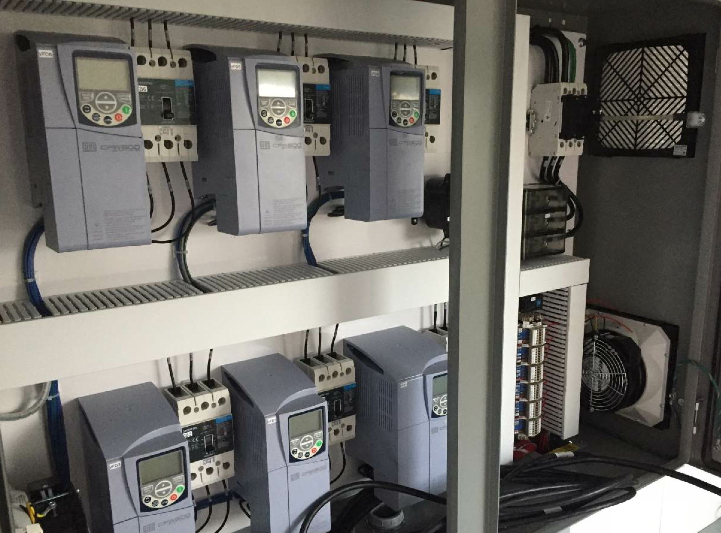 Variable frequency drives and their related wiring equipment must be installed in a dust-free environment that can be kept cool. Photo courtesy Ahern Industries.