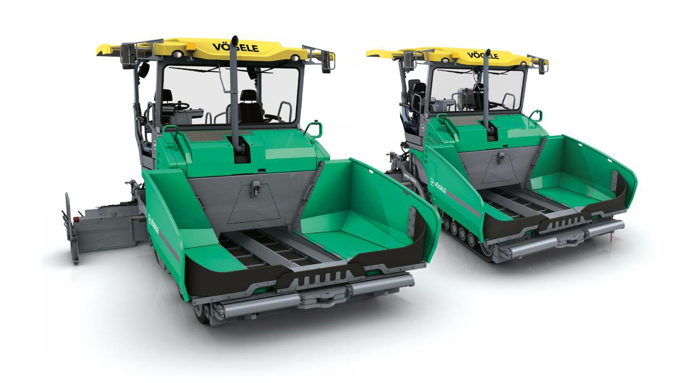 The Vögele Super 1700-3i and Super 1703-3i universal class pavers start at 8 feet widths.