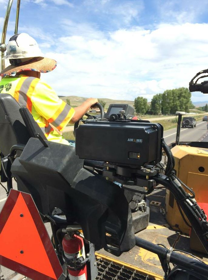 The AWARE system's sensor monitors traffic within a 600-foot range. Additional sensors can be mounted to other pieces of equipment in the work zone.
