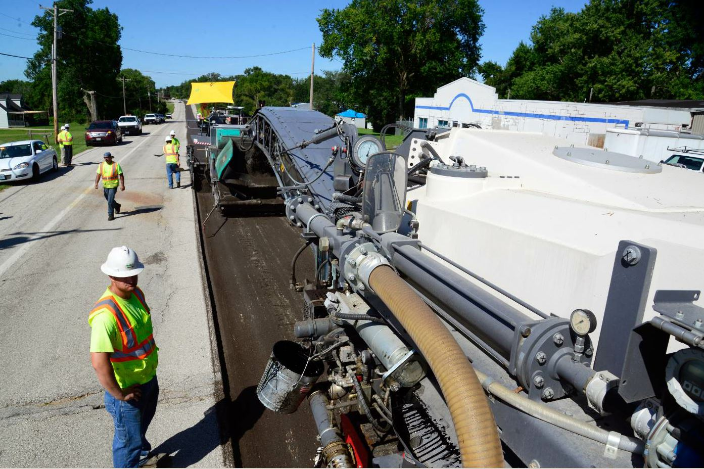 The length of the project was 4.7 miles, with two 12.5-foot lanes recycled, for a total of 9.4 miles.