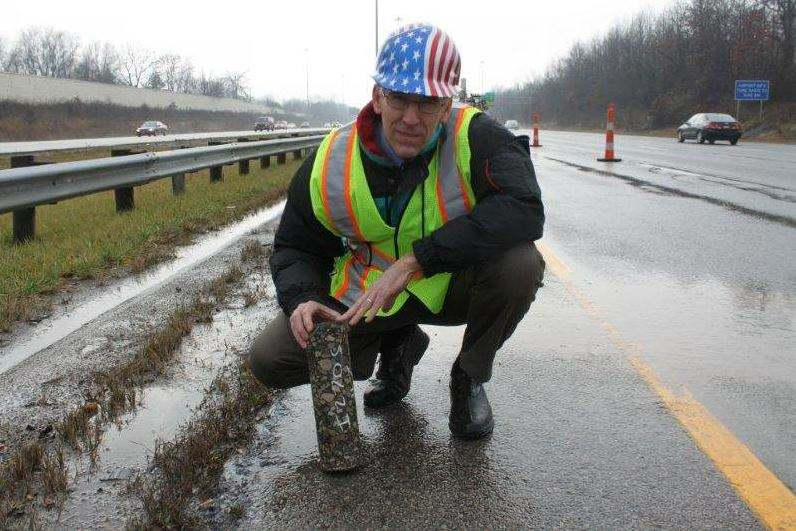 Cliff Ursich participates in perpetual pavement research, coring IR 270.