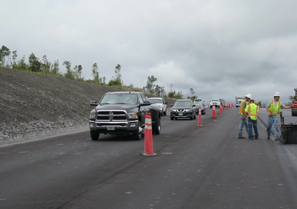 For the first half of the project, the RHB crew contended with the traveling public. However, the second half of the project was a new road south of the existing roadway. Since improvements began, Saddle Road has seen a 250 percent increase in traffic.