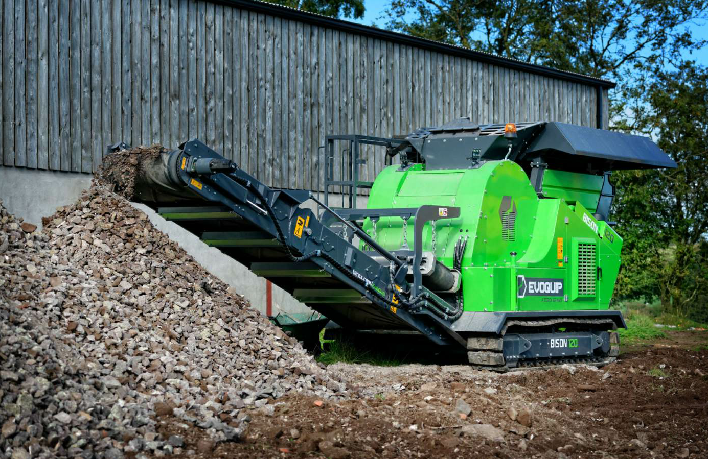 The Bison 120 jaw crusher from EvoQuip is one of the company's crushers designed to get the job done in confined job spaces. Photo courtesy Terex EvoQuip.