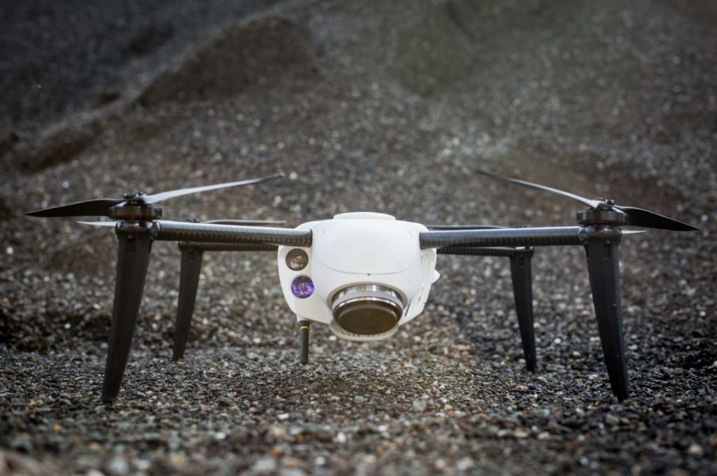 The Kespry drone gathers images and data as it flies each flight plan.