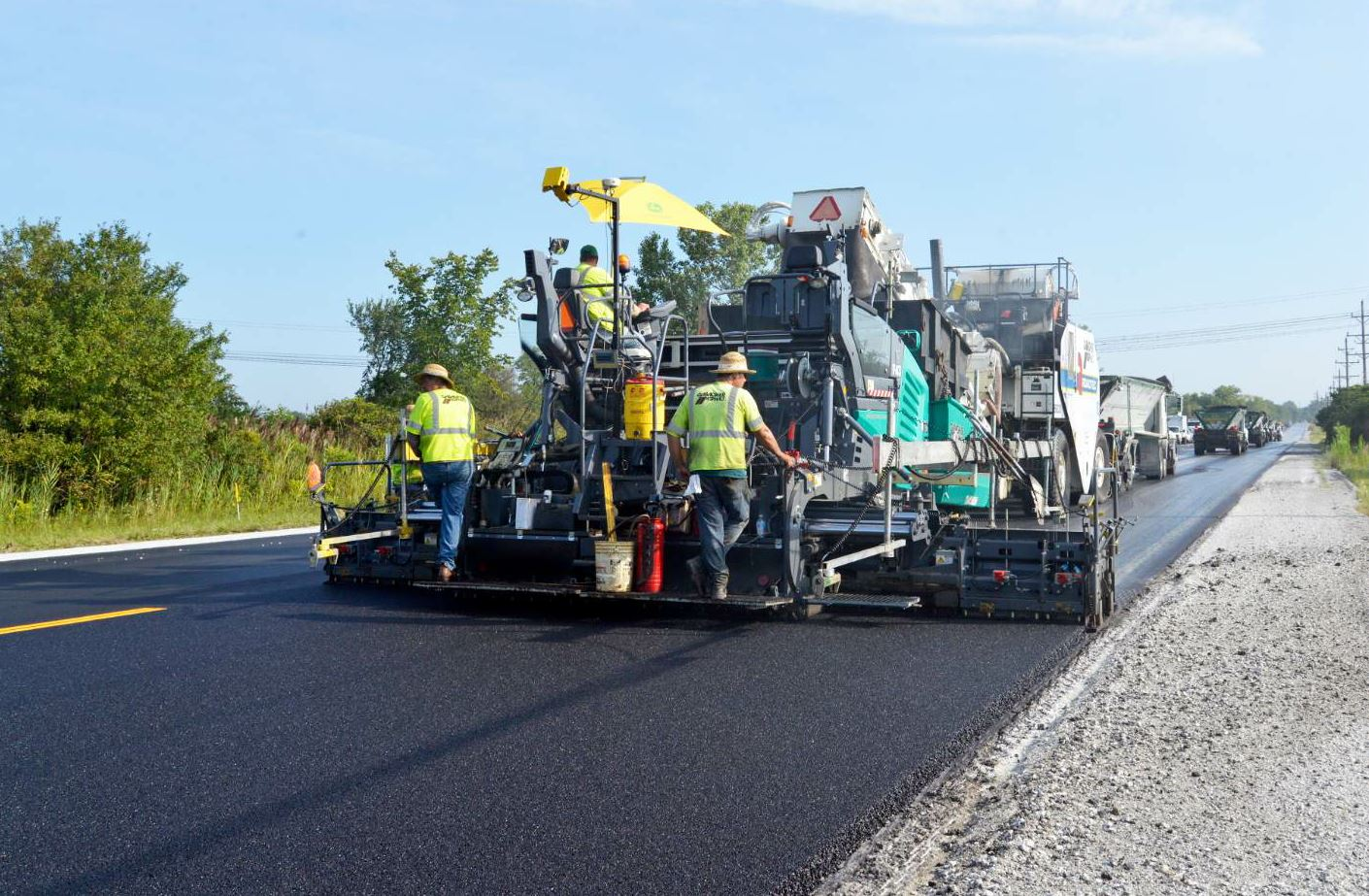 Gallagher Asphalt paved Illinois State Route 50 two lanes wide at a time.