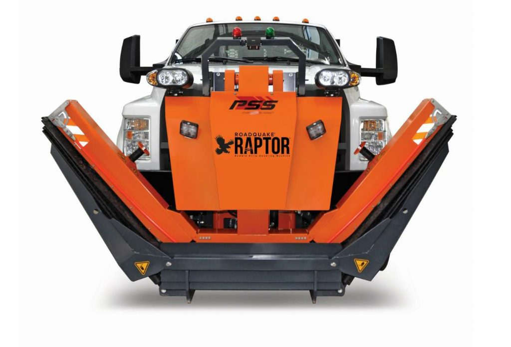 The RoadQuake® RAPTOR™ transports and places up to 12 RoadQuake TPRS.