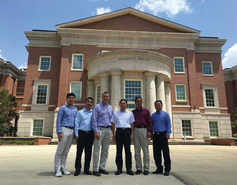 Employees of SINYUE visited Auburn University on a campus tour. From left, NCAT Postdoctoral Researcher Fan Gu, Sinyue Senior Advisor Bin Wang, NCAT Director Randy West, Sinyue President Shuihui Wu, Sinyue Senior Advisor James Luo, and NCAT Associate Research Professor Nam Tran.