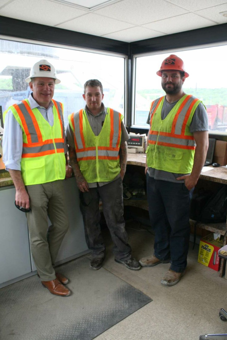 From left: David Sherwood; Chris Wendt, plant operator/site foreman; and Stephen Sherwood, asphalt operations manager